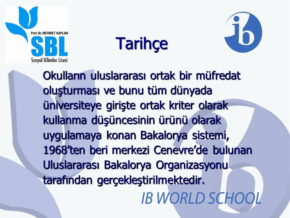 Tarihçe Okulların uluslararası ortak bir müfredat oluşturması ve bunu tüm dünyada üniversiteye girişte ortak kriter olarak kullanma düşüncesinin ürünü