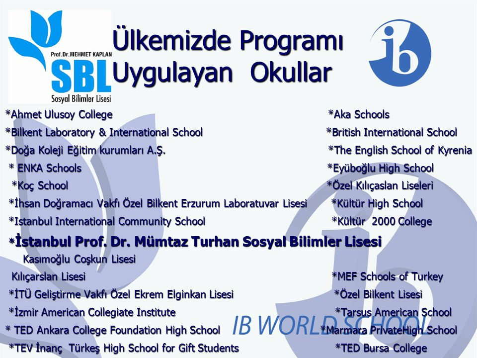 Ülkemizde Programı Uygulayan Okullar *Ahmet Ulusoy College *Aka Schools *Bilkent Laboratory & International School *British International School *Doğa