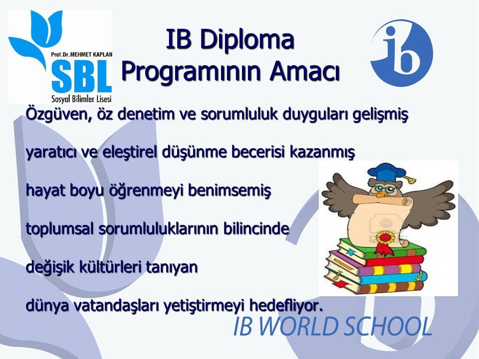 IB Diploma Programının Amacı Özgüven, öz denetim ve sorumluluk duyguları gelişmiş yaratıcı ve eleştirel düşünme becerisi kazanmış hayat boyu öğrenmeyi