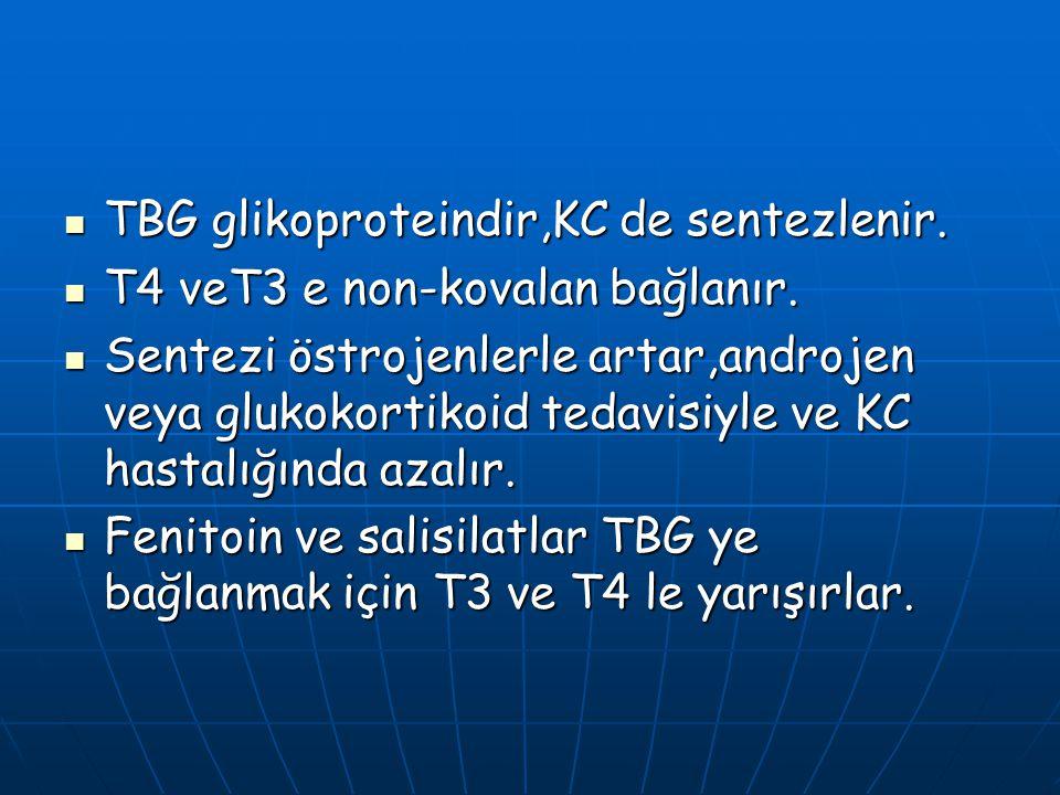 TBG glikoproteindir,KC de sentezlenir. TBG glikoproteindir,KC de sentezlenir. T4 veT3 e non-kovalan bağlanır. T4 veT3 e non-kovalan bağlanır. Sentezi