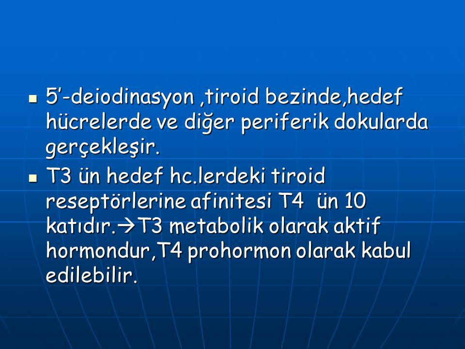 5'-deiodinasyon,tiroid bezinde,hedef hücrelerde ve diğer periferik dokularda gerçekleşir. 5'-deiodinasyon,tiroid bezinde,hedef hücrelerde ve diğer per