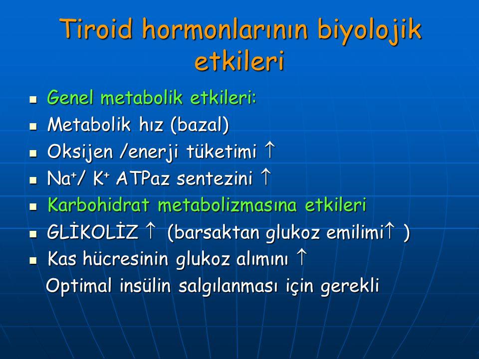 Tiroid hormonlarının biyolojik etkileri Genel metabolik etkileri: Genel metabolik etkileri: Metabolik hız (bazal) Metabolik hız (bazal) Oksijen /enerj