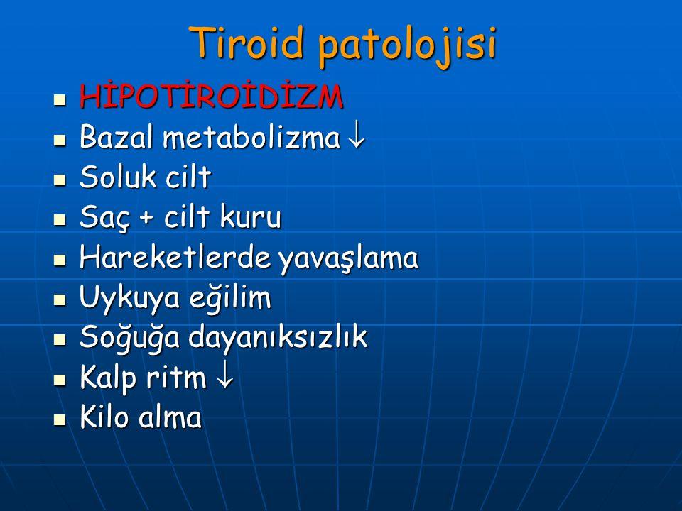 Tiroid patolojisi HİPOTİROİDİZM HİPOTİROİDİZM Bazal metabolizma  Bazal metabolizma  Soluk cilt Soluk cilt Saç + cilt kuru Saç + cilt kuru Hareketler