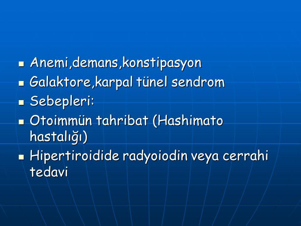 Anemi,demans,konstipasyon Anemi,demans,konstipasyon Galaktore,karpal tünel sendrom Galaktore,karpal tünel sendrom Sebepleri: Sebepleri: Otoimmün tahri