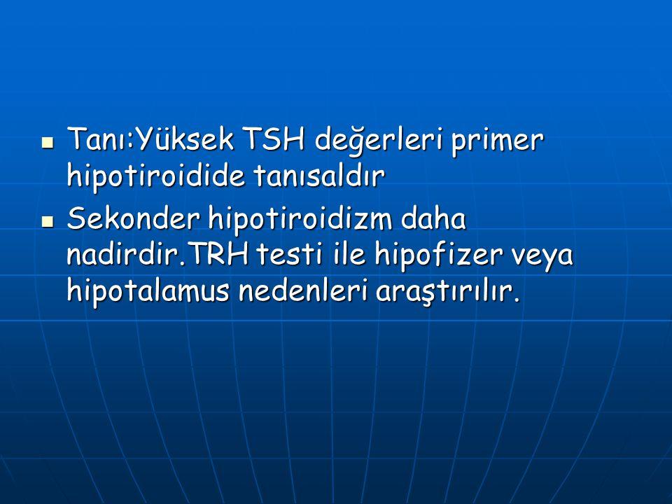 Tanı:Yüksek TSH değerleri primer hipotiroidide tanısaldır Tanı:Yüksek TSH değerleri primer hipotiroidide tanısaldır Sekonder hipotiroidizm daha nadird