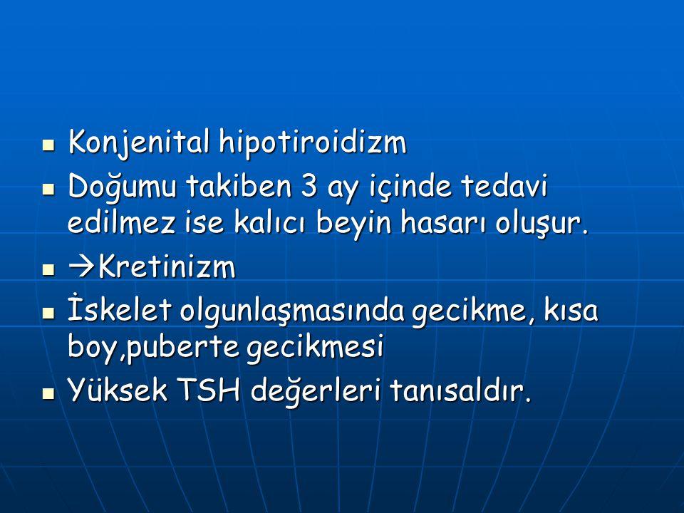 Konjenital hipotiroidizm Konjenital hipotiroidizm Doğumu takiben 3 ay içinde tedavi edilmez ise kalıcı beyin hasarı oluşur. Doğumu takiben 3 ay içinde