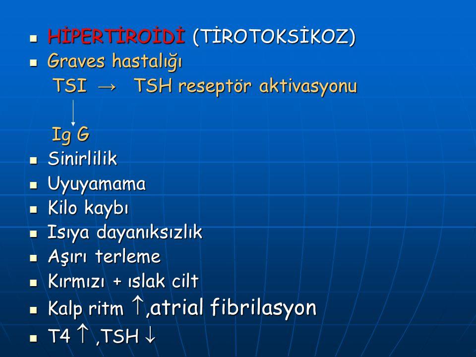 HİPERTİROİDİ (TİROTOKSİKOZ) HİPERTİROİDİ (TİROTOKSİKOZ) Graves hastalığı Graves hastalığı TSI → TSH reseptör aktivasyonu TSI → TSH reseptör aktivasyon