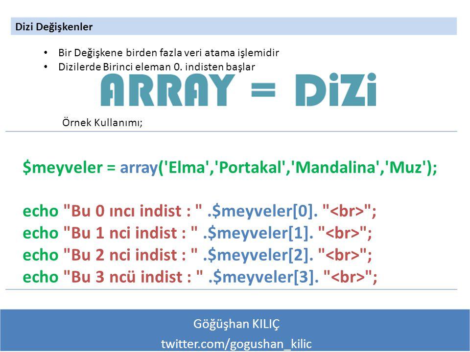 Göğüşhan KILIÇ twitter.com/gogushan_kilic Dizi Değişkenler Örnek Kullanımı; Bir Değişkene birden fazla veri atama işlemidir Dizilerde Birinci eleman 0.