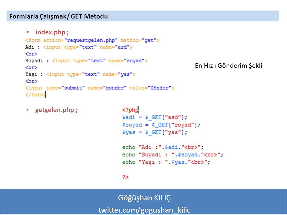 Göğüşhan KILIÇ twitter.com/gogushan_kilic Formlarla Çalışmak/ GET Metodu index.php ; getgelen.php ; En Hızlı Gönderim Şekli