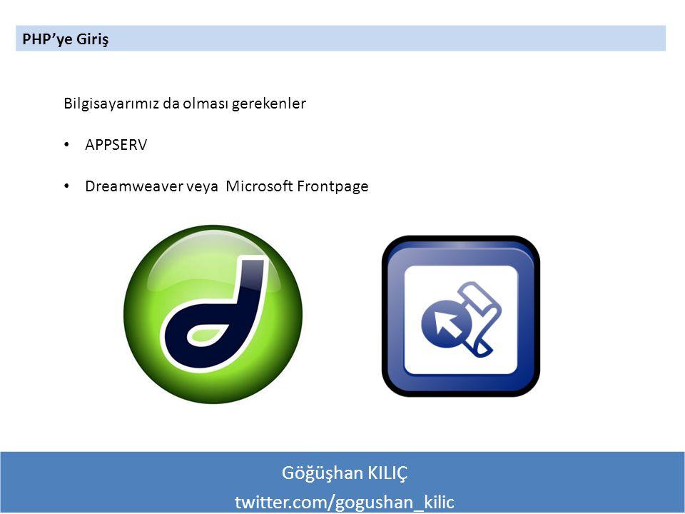 Göğüşhan KILIÇ twitter.com/gogushan_kilic PHP'ye Giriş Bilgisayarımız da olması gerekenler APPSERV Dreamweaver veya Microsoft Frontpage