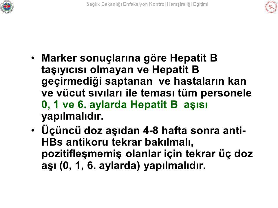 Sağlık Bakanlığı Enfeksiyon Kontrol Hemşireliği Eğitimi Marker sonuçlarına göre Hepatit B taşıyıcısı olmayan ve Hepatit B geçirmediği saptanan ve hast
