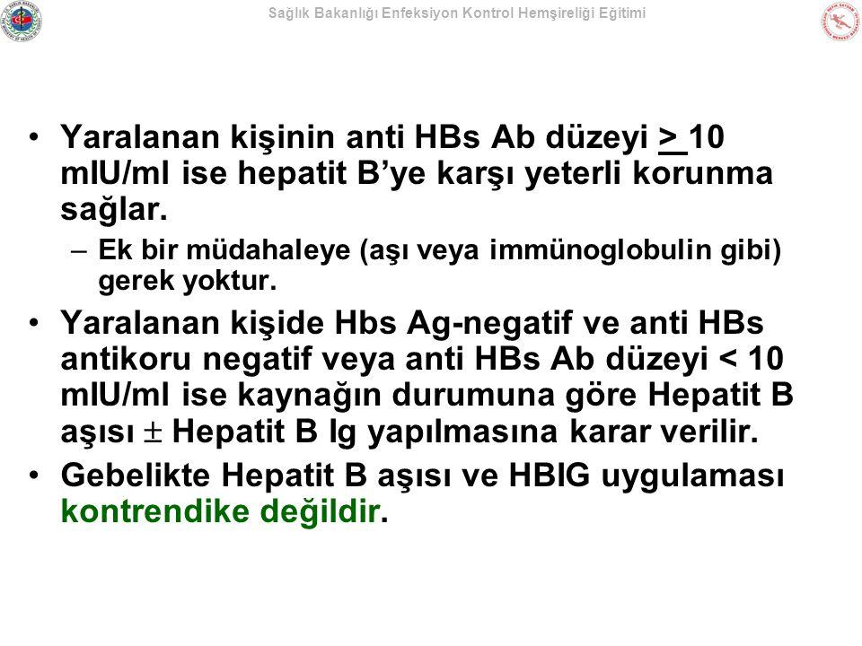 Sağlık Bakanlığı Enfeksiyon Kontrol Hemşireliği Eğitimi Yaralanan kişinin anti HBs Ab düzeyi > 10 mIU/ml ise hepatit B'ye karşı yeterli korunma sağlar
