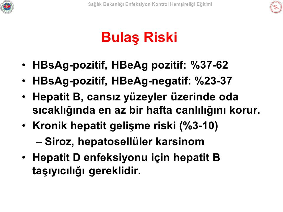 Sağlık Bakanlığı Enfeksiyon Kontrol Hemşireliği Eğitimi Bulaş Riski HBsAg-pozitif, HBeAg pozitif: %37-62 HBsAg-pozitif, HBeAg-negatif: %23-37 Hepatit