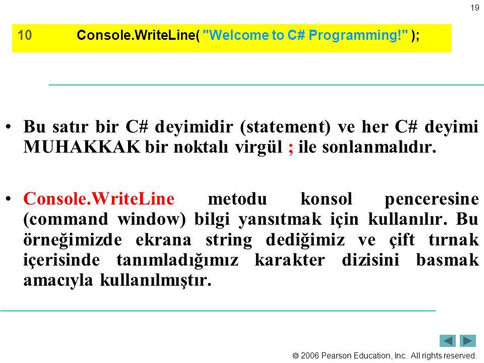 2006 Pearson Education, Inc. All rights reserved. 19 Bu satır bir C# deyimidir (statement) ve her C# deyimi MUHAKKAK bir noktalı virgül ; ile sonlan