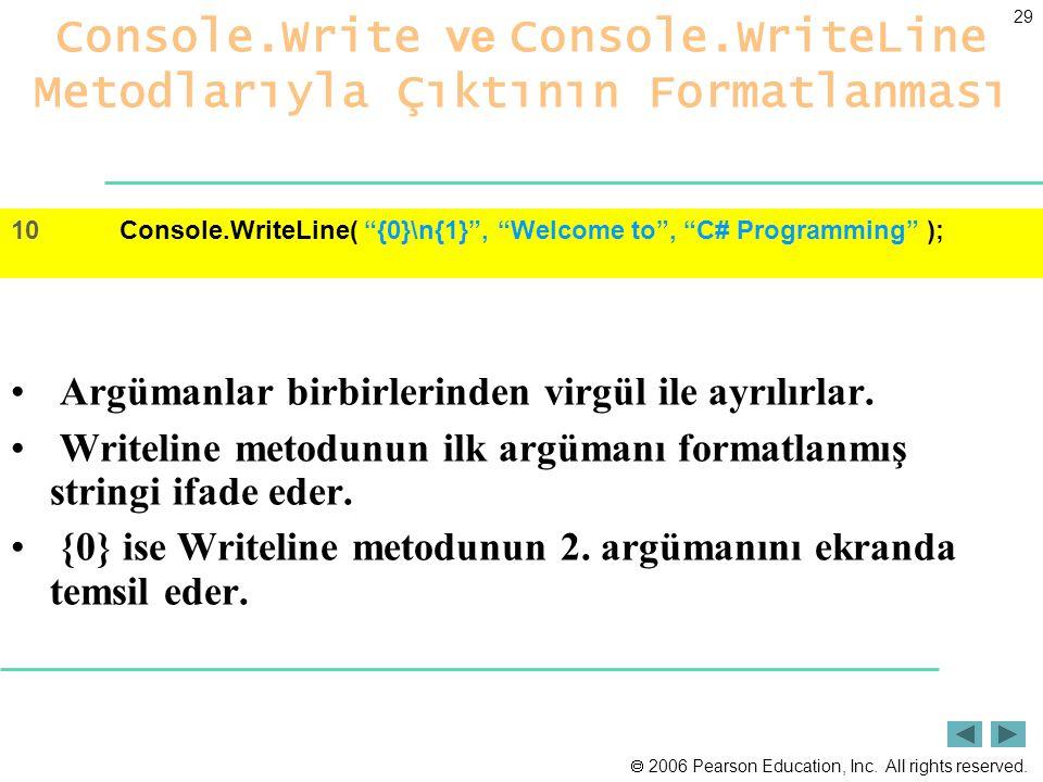  2006 Pearson Education, Inc. All rights reserved. 29 Console.Write ve Console.WriteLine Metodlarıyla Çıktının Formatlanması Argümanlar birbirlerinde