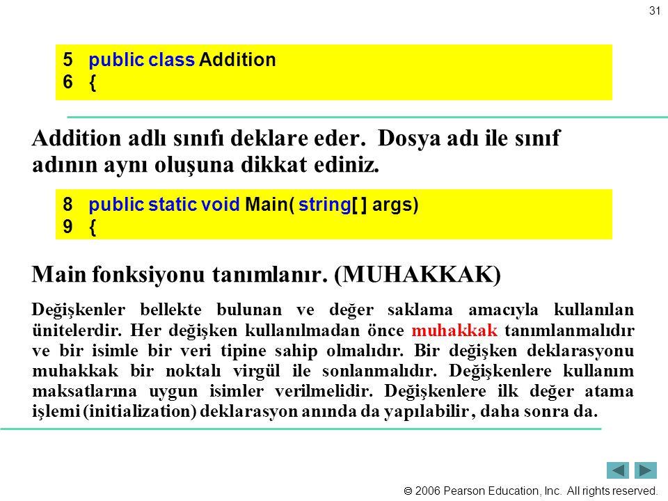  2006 Pearson Education, Inc. All rights reserved. 31 Addition adlı sınıfı deklare eder. Dosya adı ile sınıf adının aynı oluşuna dikkat ediniz. Main
