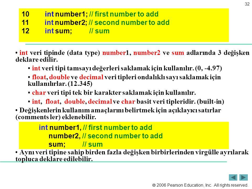  2006 Pearson Education, Inc. All rights reserved. 32 int veri tipinde (data type) number1, number2 ve sum adlarında 3 değişken deklare edilir. int v