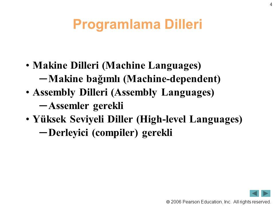  2006 Pearson Education, Inc. All rights reserved. 4 Programlama Dilleri Makine Dilleri (Machine Languages) ─Makine bağımlı (Machine-dependent) Assem