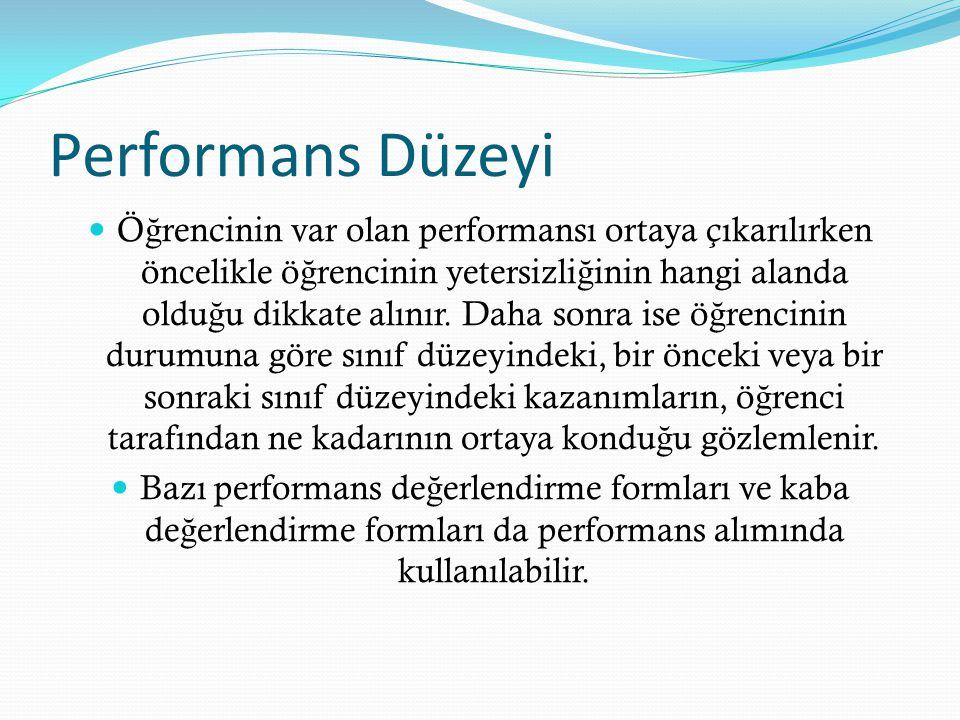 Performans Düzeyi Ö ğ rencinin var olan performansı ortaya çıkarılırken öncelikle ö ğ rencinin yetersizli ğ inin hangi alanda oldu ğ u dikkate alınır.
