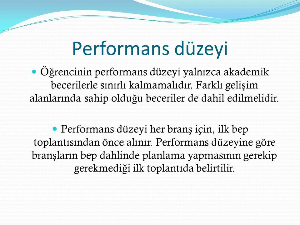 Performans düzeyi Ö ğ rencinin performans düzeyi yalnızca akademik becerilerle sınırlı kalmamalıdır.