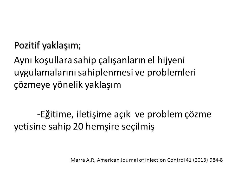 Pozitif yaklaşım Pozitif yaklaşım; Aynı koşullara sahip çalışanların el hijyeni uygulamalarını sahiplenmesi ve problemleri çözmeye yönelik yaklaşım -Eğitime, iletişime açık ve problem çözme yetisine sahip 20 hemşire seçilmiş Marra A.R, American Journal of Infection Control 41 (2013) 984-8