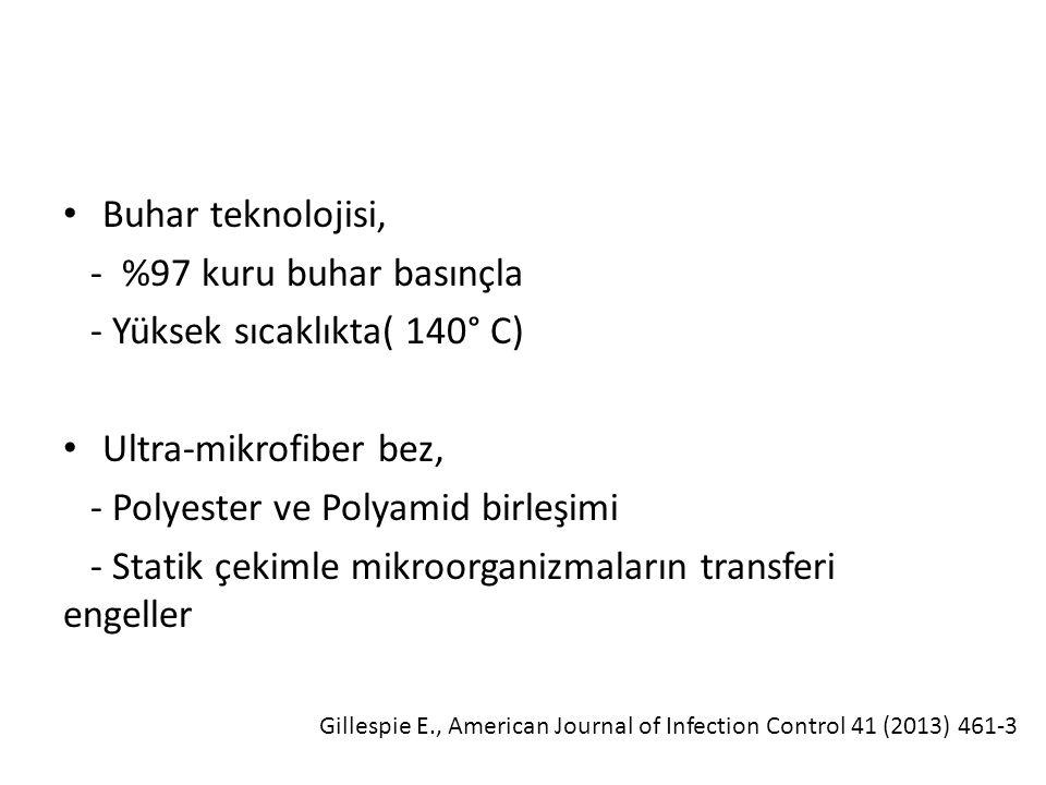 Buhar teknolojisi, - %97 kuru buhar basınçla - Yüksek sıcaklıkta( 140° C) Ultra-mikrofiber bez, - Polyester ve Polyamid birleşimi - Statik çekimle mikroorganizmaların transferi engeller Gillespie E., American Journal of Infection Control 41 (2013) 461-3