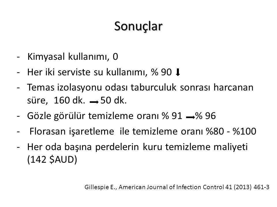 Sonuçlar - Kimyasal kullanımı, 0 -Her iki serviste su kullanımı, % 90 -Temas izolasyonu odası taburculuk sonrası harcanan süre, 160 dk.