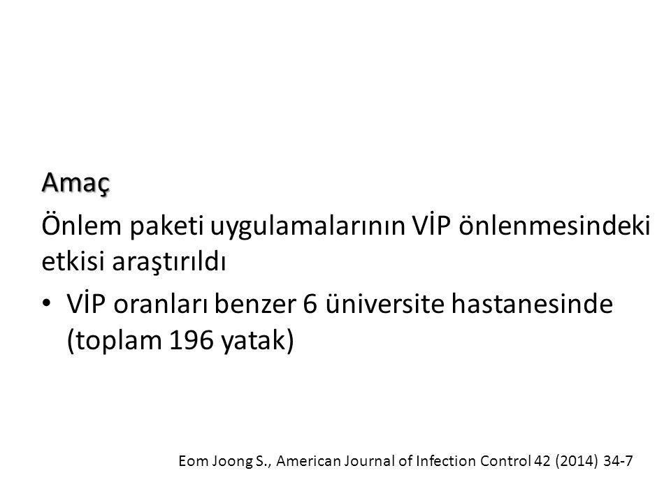 Amaç Önlem paketi uygulamalarının VİP önlenmesindeki etkisi araştırıldı VİP oranları benzer 6 üniversite hastanesinde (toplam 196 yatak) Eom Joong S., American Journal of Infection Control 42 (2014) 34-7
