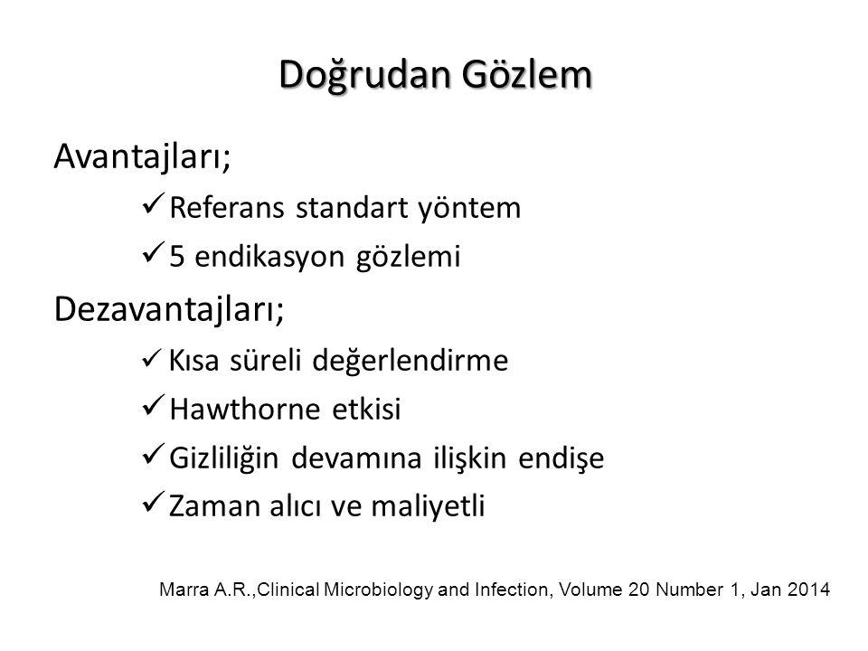 Doğrudan Gözlem Avantajları; Referans standart yöntem 5 endikasyon gözlemi Dezavantajları; Kısa süreli değerlendirme Hawthorne etkisi Gizliliğin devamına ilişkin endişe Zaman alıcı ve maliyetli Marra A.R.,Clinical Microbiology and Infection, Volume 20 Number 1, Jan 2014