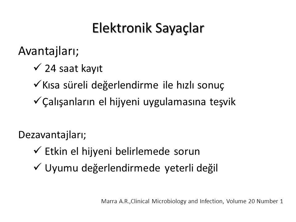 Elektronik Sayaçlar Avantajları; 24 saat kayıt Kısa süreli değerlendirme ile hızlı sonuç Çalışanların el hijyeni uygulamasına teşvik Dezavantajları; Etkin el hijyeni belirlemede sorun Uyumu değerlendirmede yeterli değil Marra A.R.,Clinical Microbiology and Infection, Volume 20 Number 1