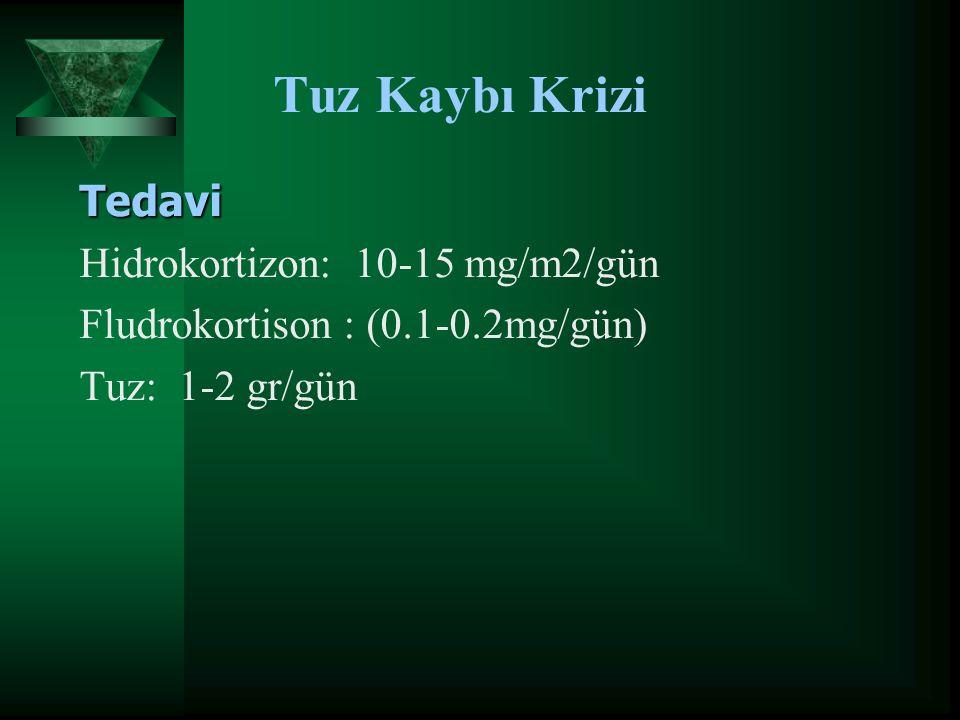 Tuz Kaybı Krizi Tedavi Hidrokortizon: 10-15 mg/m2/gün Fludrokortison : (0.1-0.2mg/gün) Tuz: 1-2 gr/gün