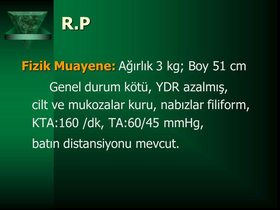 R.P Fizik Muayene: Fizik Muayene: Ağırlık 3 kg; Boy 51 cm Genel durum kötü, YDR azalmış, cilt ve mukozalar kuru, nabızlar filiform, KTA:160 /dk, TA:60