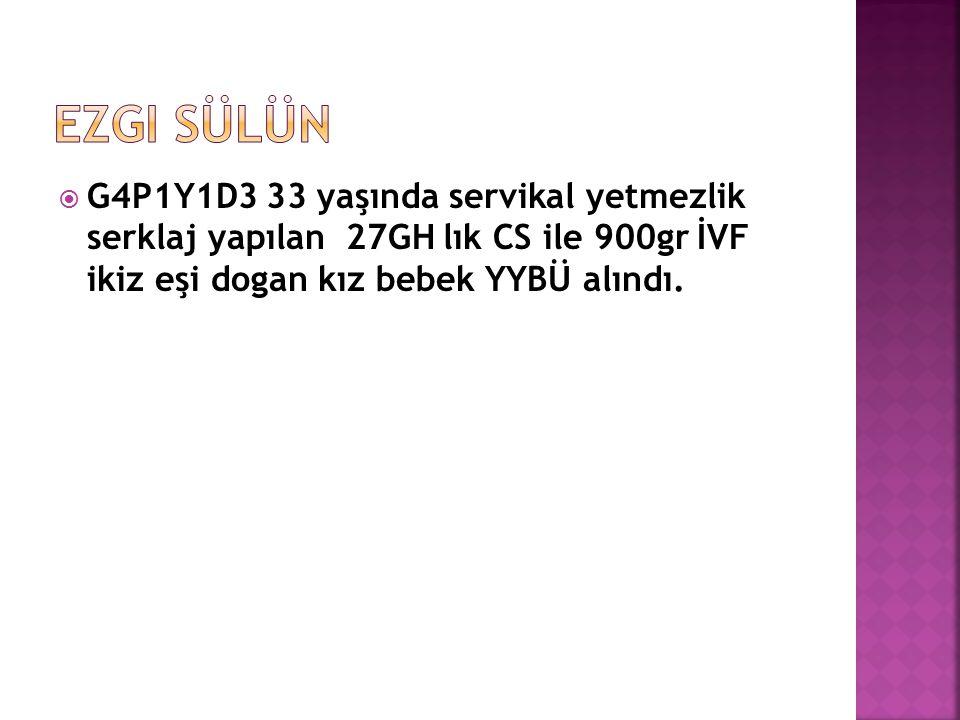 G4P1Y1D3 33 yaşında servikal yetmezlik serklaj yapılan 27GH lık CS ile 900gr İVF ikiz eşi dogan kız bebek YYBÜ alındı.
