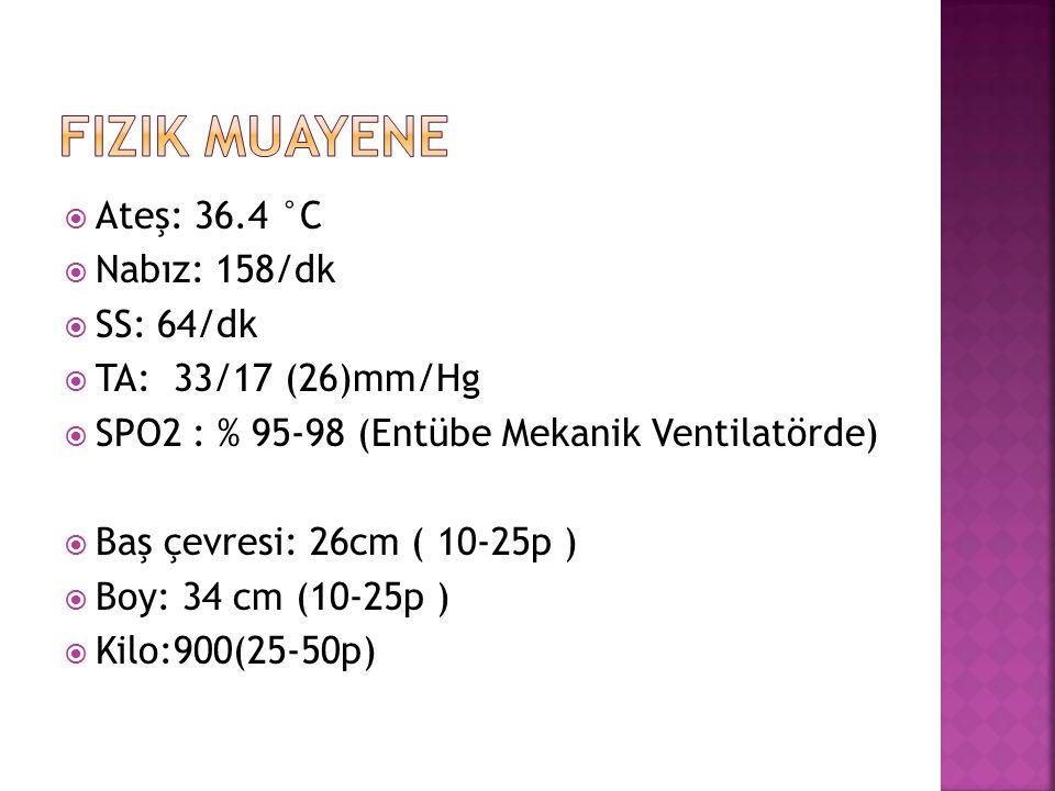  Ateş: 36.4 °C  Nabız: 158/dk  SS: 64/dk  TA: 33/17 (26)mm/Hg  SPO2 : % 95-98 (Entübe Mekanik Ventilatörde)  Baş çevresi: 26cm ( 10-25p )  Boy: