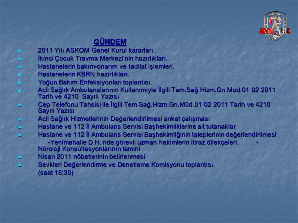GÜNDEM GÜNDEM 2011 Yılı ASKOM Genel Kurul kararları.