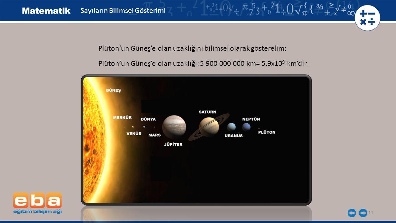 11 Sayıların Bilimsel Gösterimi Plüton'un Güneş'e olan uzaklığını bilimsel olarak gösterelim: Plüton'un Güneş'e olan uzaklığı: 5 900 000 000 km= 5,9x10 9 km'dir.