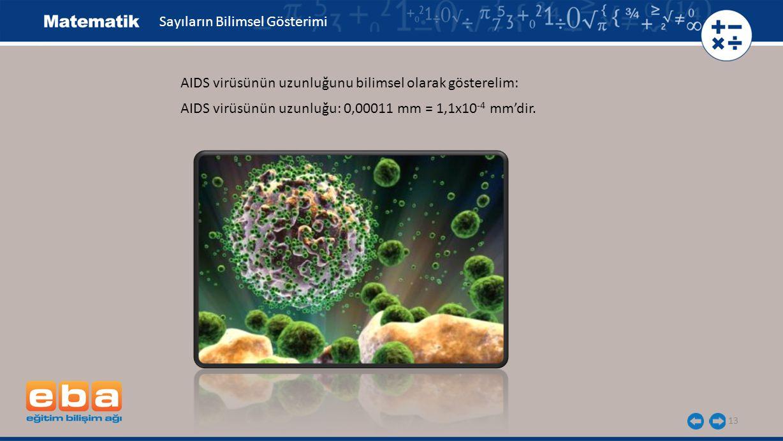 13 Sayıların Bilimsel Gösterimi AIDS virüsünün uzunluğunu bilimsel olarak gösterelim: AIDS virüsünün uzunluğu: 0,00011 mm = 1,1x10 -4 mm'dir.