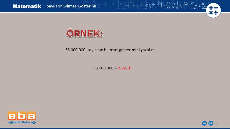 15 Sayıların Bilimsel Gösterimi 38 000 000 sayısının bilimsel gösterimini yazalım.