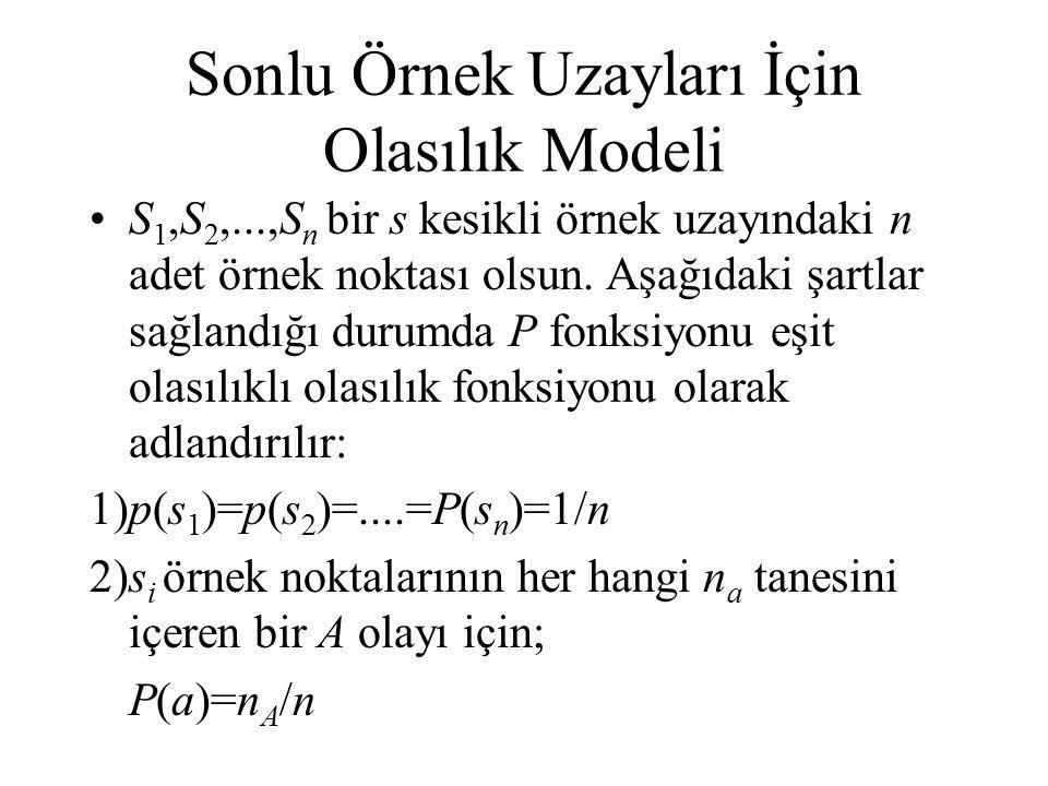 Sonlu Örnek Uzayları İçin Olasılık Modeli S 1,S 2,...,S n bir s kesikli örnek uzayındaki n adet örnek noktası olsun. Aşağıdaki şartlar sağlandığı duru