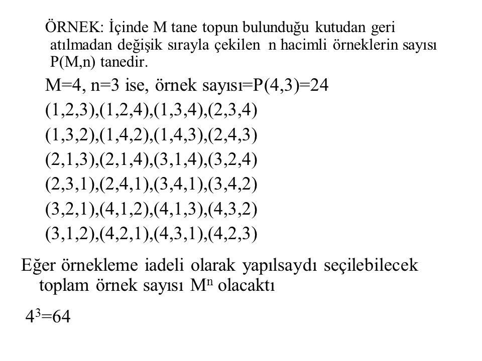 ÖRNEK: İçinde M tane topun bulunduğu kutudan geri atılmadan değişik sırayla çekilen n hacimli örneklerin sayısı P(M,n) tanedir. M=4, n=3 ise, örnek sa
