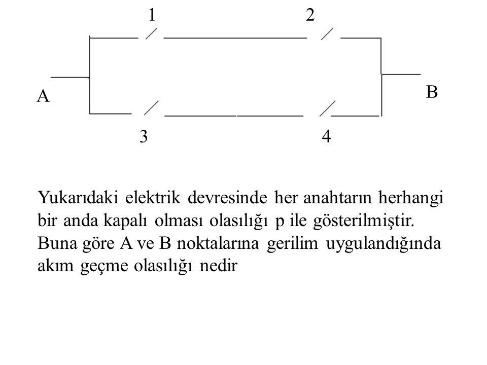 A B 1 4 2 3 Yukarıdaki elektrik devresinde her anahtarın herhangi bir anda kapalı olması olasılığı p ile gösterilmiştir. Buna göre A ve B noktalarına