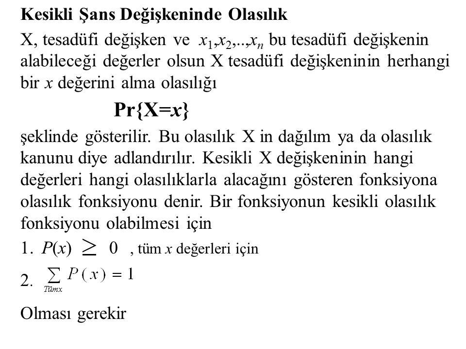 Kesikli Şans Değişkeninde Olasılık X, tesadüfi değişken ve x 1,x 2,..,x n bu tesadüfi değişkenin alabileceği değerler olsun X tesadüfi değişkeninin herhangi bir x değerini alma olasılığı Pr{X=x} şeklinde gösterilir.