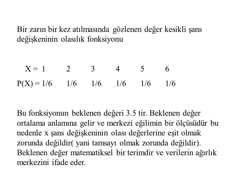 Bir zarın bir kez atılmasında gözlenen değer kesikli şans değişkeninin olasılık fonksiyonu X = 123456 P(X) =1/61/61/61/61/61/6 Bu fonksiyonun beklenen