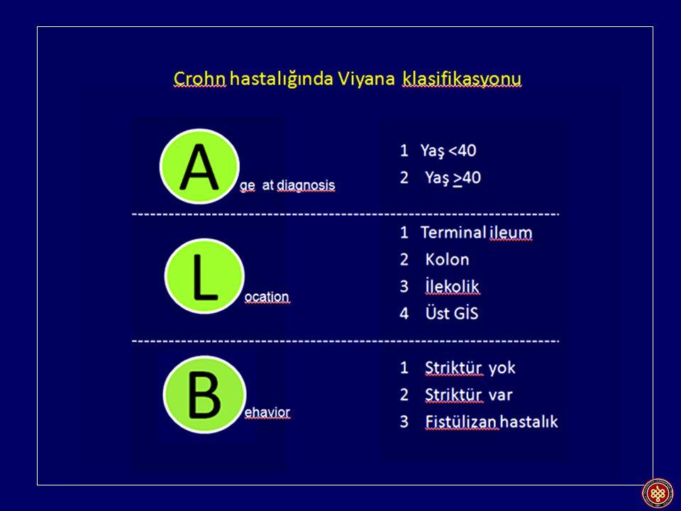 Crohn hastalığında fenotip Stenoz %17-45 Fistül %13-20 İnflamasyon %30-70 İnflamasyonlu form Striktürlü form Fistülizan form %29%27