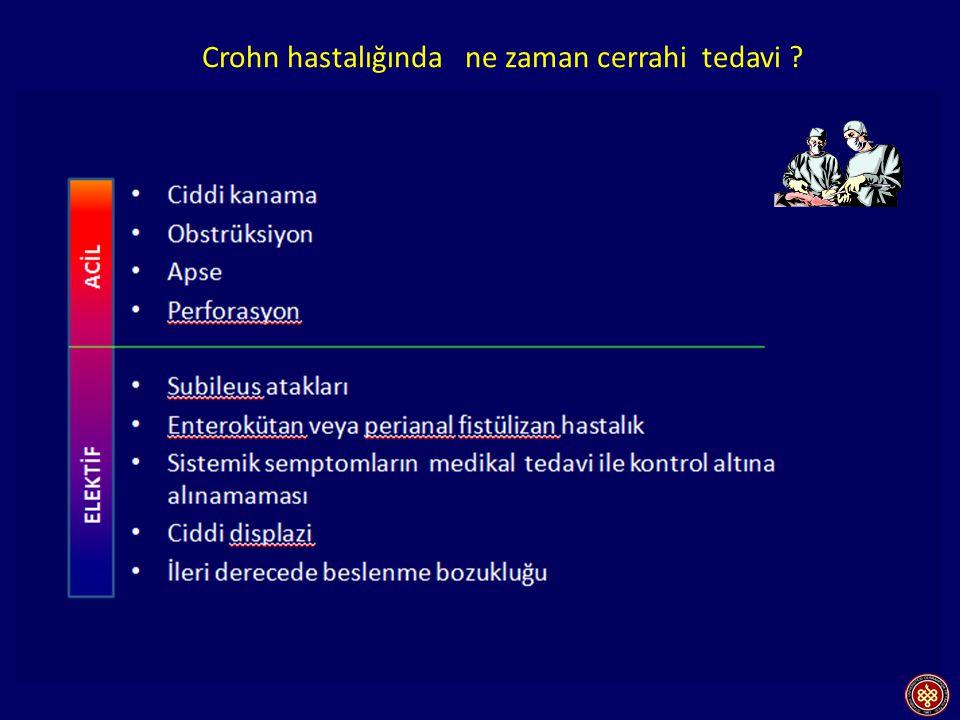 Obstrüksiyon İleokolik anastomoz Çekum ve Tİ rezeksiyonu Fistül İleorektal anastomoz Kolektomi Rektum Crohn hastalığında ne zaman cerrahi tedavi ?