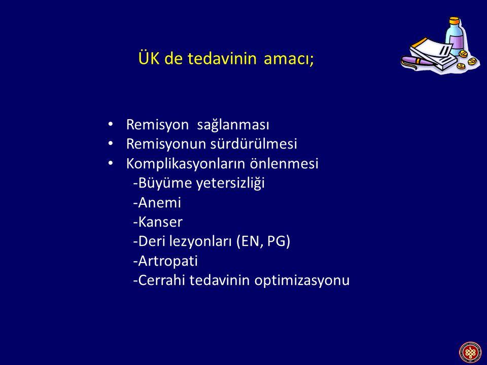 Baumgart DC.Gastroenterology 2 2007;369(22):1641-57, Shen B.Am J Gastroenterol 2005; 100: 2796–2807; Poşitis Total kolektomi ve J poş + ileoanal anastomoz uygulanan vakalarda cerrahi sonrasında ; - Poşitis (%10-50) - Poş yetersizliği (%6-10) - Pelvik sepsis (%8-10) - Fekal inkontinans (%5-17) Primer sklerozan kolanjiti ve belirgin ekstraintestinal bulguları olan p-ANCA + ÜK li olgularda poşit oluşma olasılığı daha fazladır.