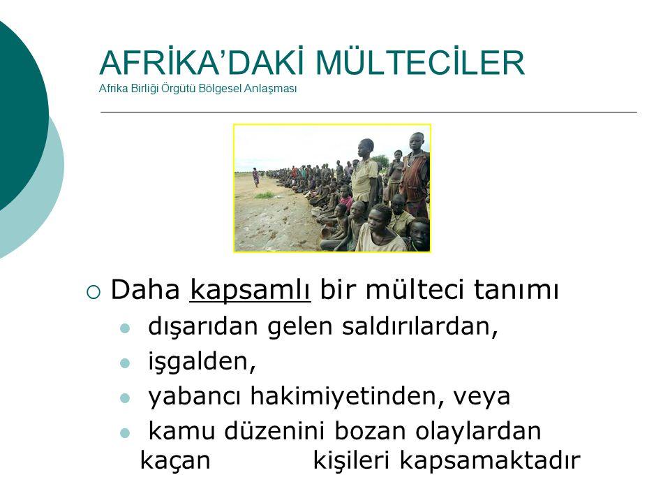 AFRİKA'DAKİ MÜLTECİLER Afrika Birliği Örgütü Bölgesel Anlaşması  Daha kapsamlı bir mülteci tanımı dışarıdan gelen saldırılardan, işgalden, yabancı hakimiyetinden, veya kamu düzenini bozan olaylardan kaçan kişileri kapsamaktadır