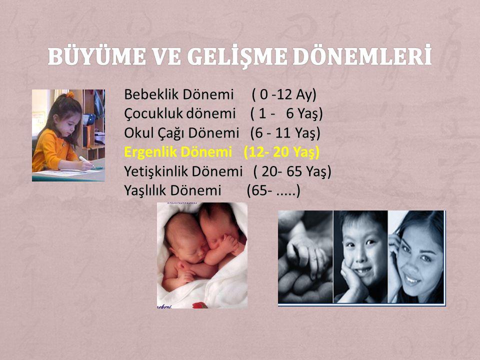 Bebeklik Dönemi ( 0 -12 Ay) Çocukluk dönemi ( 1 - 6 Yaş) Okul Çağı Dönemi (6 - 11 Yaş) Ergenlik Dönemi (12- 20 Yaş) Yetişkinlik Dönemi ( 20- 65 Yaş) Yaşlılık Dönemi (65-.....)