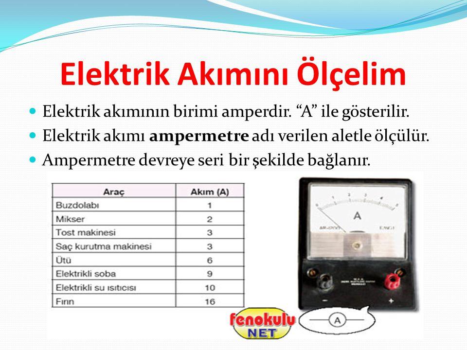 """Elektrik Akımını Ölçelim Elektrik akımının birimi amperdir. """"A"""" ile gösterilir. Elektrik akımı ampermetre adı verilen aletle ölçülür. Ampermetre devre"""