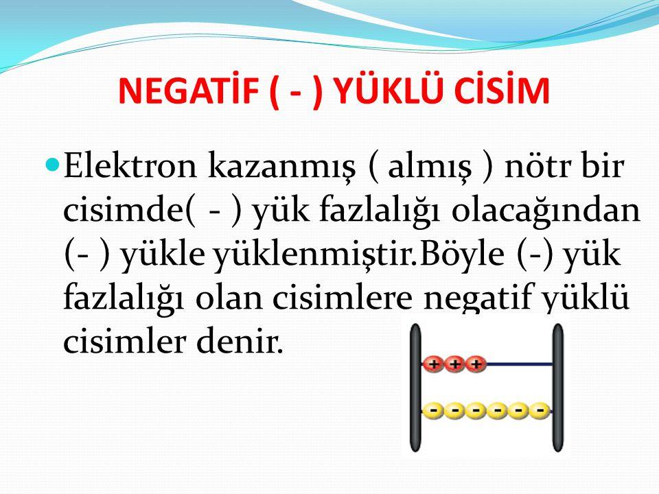 Elektron kazanmış ( almış ) nötr bir cisimde( - ) yük fazlalığı olacağından (- ) yükle yüklenmiştir.Böyle (-) yük fazlalığı olan cisimlere negatif yük